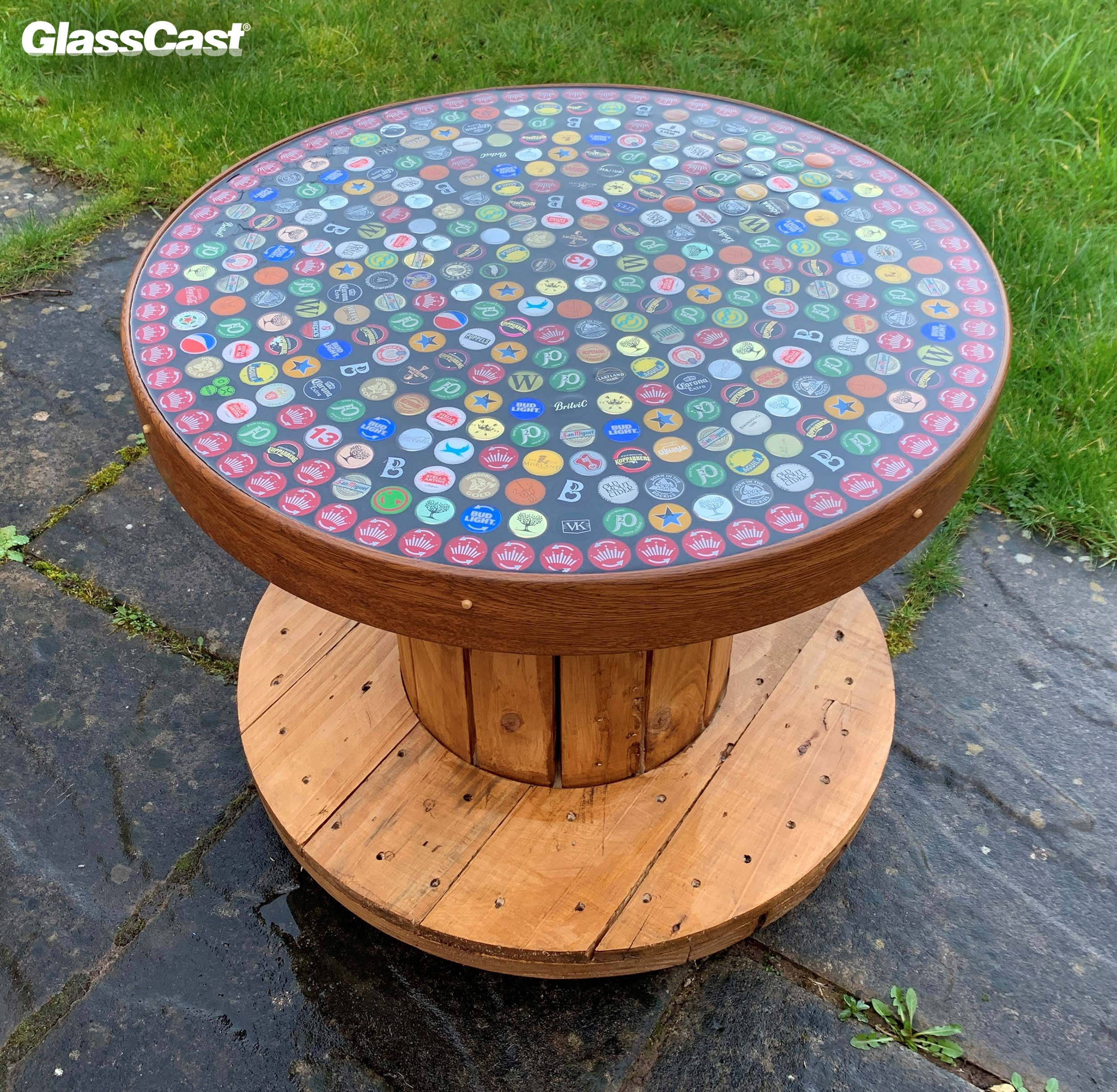 Bottle Cap Resin Coated Cable Reel Table Glasscast Resin