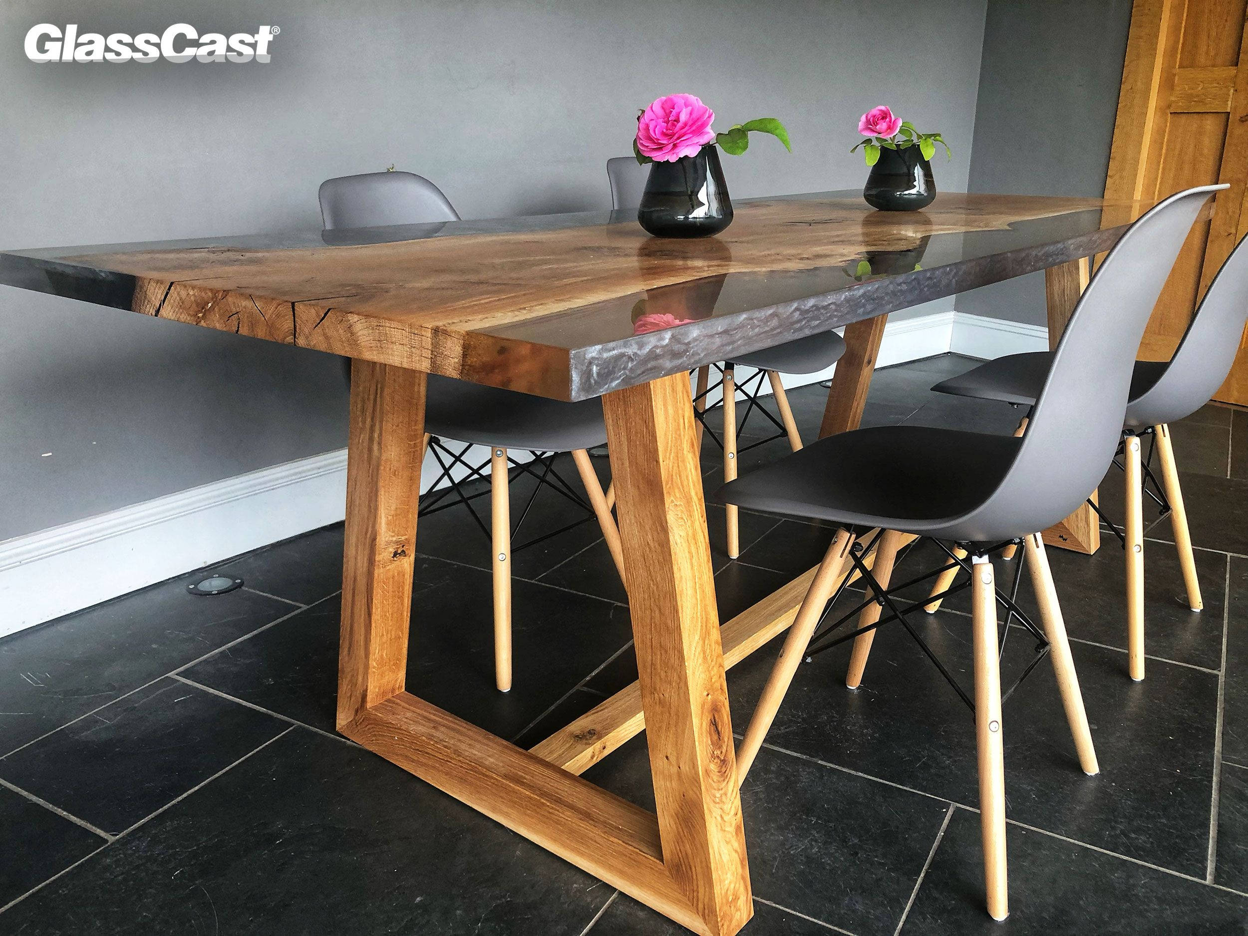Oak And Epoxy Resin Dining Table
