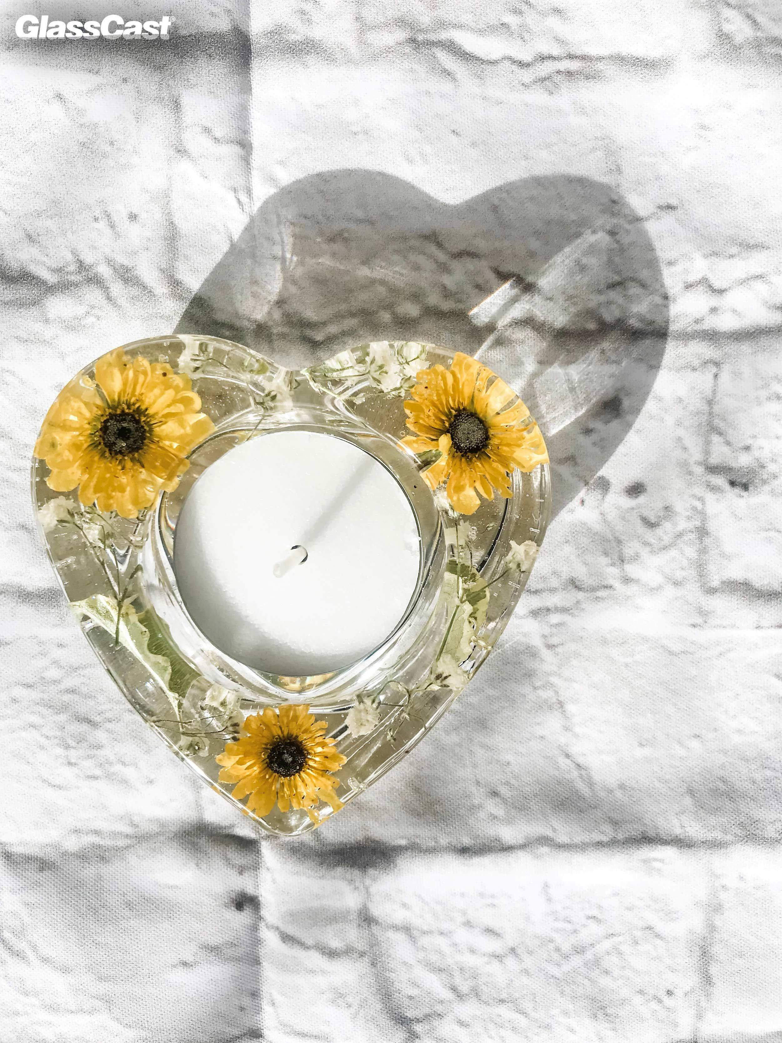 Floral Epoxy Resin Candle Holders Glasscast