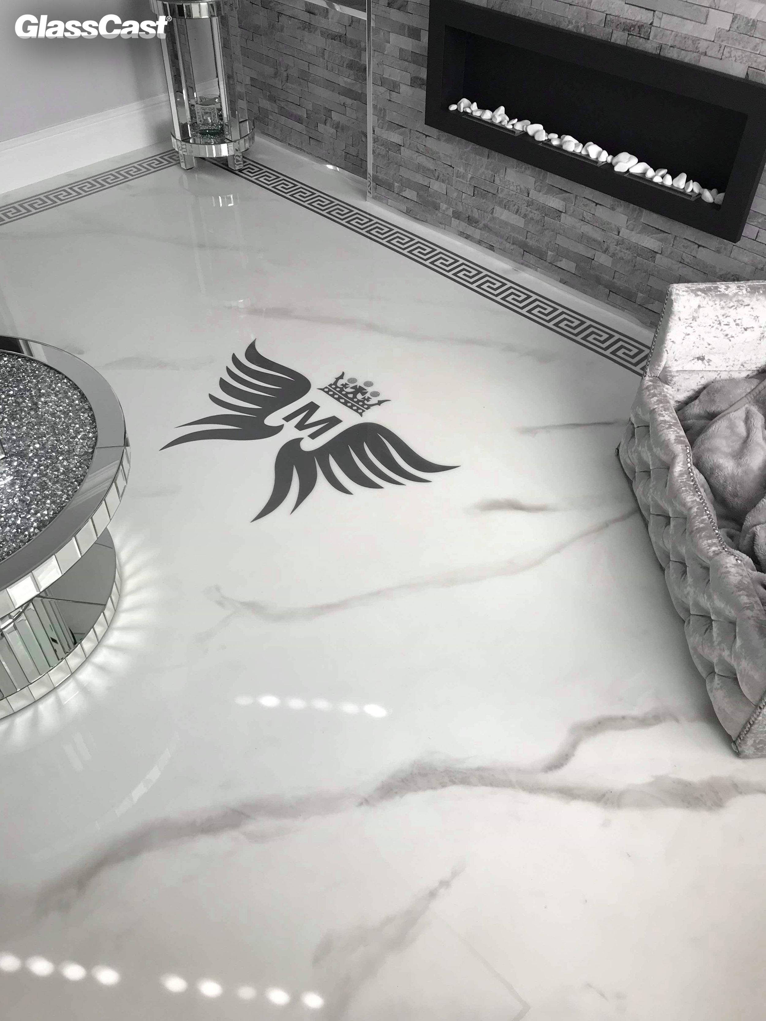 Marble Effect White And Metallic Resin Floor Glasscast
