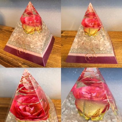 Pink Resin and Flower Pyramid