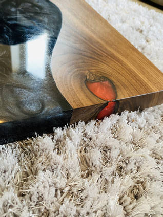 Black and Red Resin Serving Board