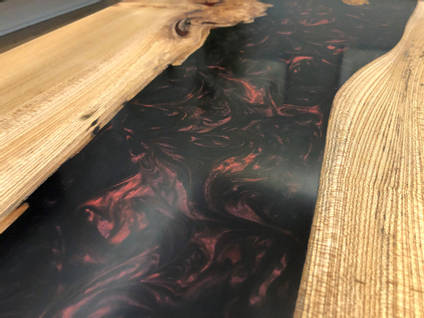 Black and Red River Table Close Up