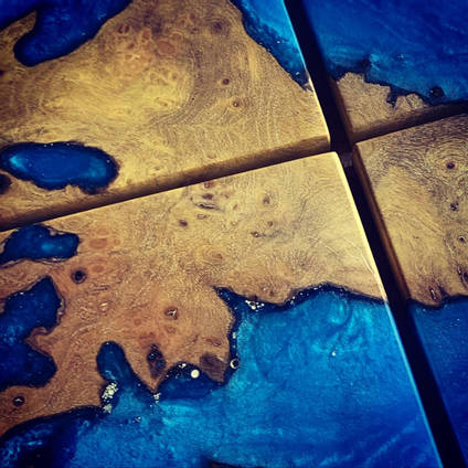 Blue Ocean Coaster Set Close Up
