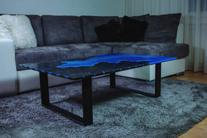 Bog Oak and Resin Table in Lounge by Special Works