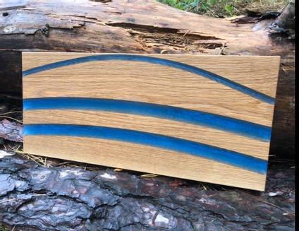 Oak and Blue Resin Charcuterie Board