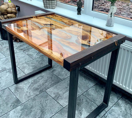 Resin and Wood Side Table
