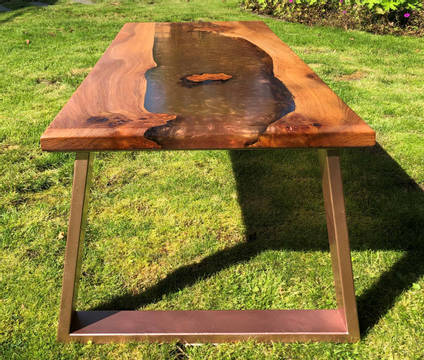 Copper and Elm Resin River Table