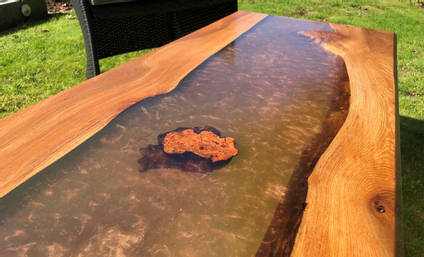Copper and Elm River Table Close Up