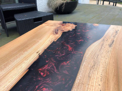 Elm Black and Red River Table