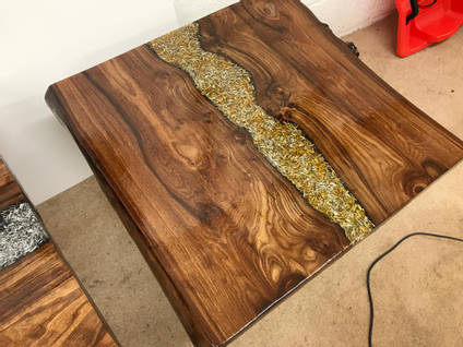 Gold Swarf and Resin Table