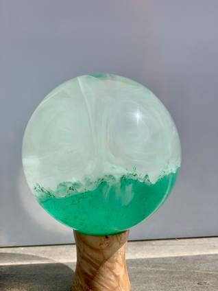 Green Misty Resin Sphere