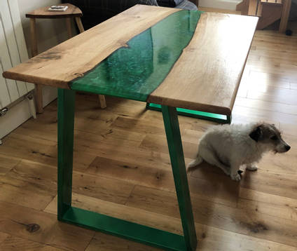 Green and Oak River Table with Dog