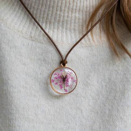 Pink Resin Flower Pendant