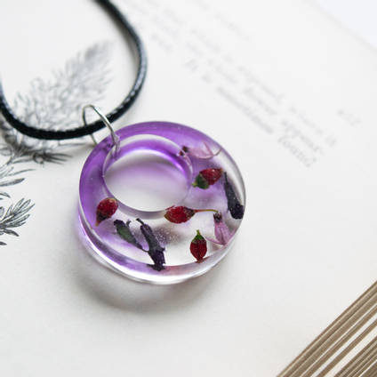 Pink and Purple Resin Flower Pendant