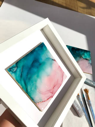 PInk and Turquoise Alcohol Ink on Tile