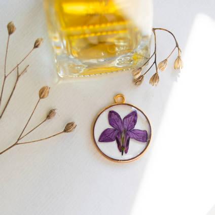 Purple Flower Resin Pendant