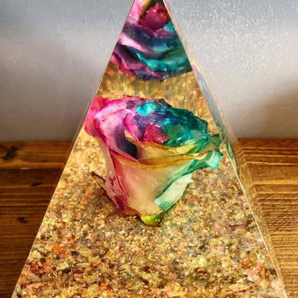 Rainbow Rose and Resin Pyramid