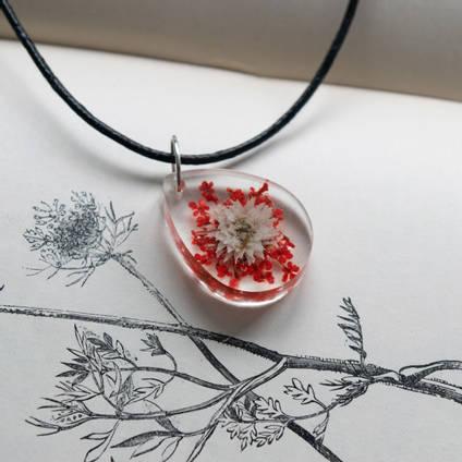 Red Flower Resin Pendant