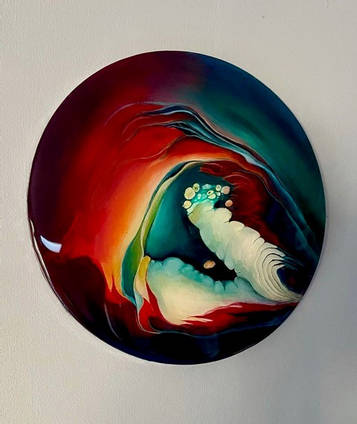 Red-and-Turquoise-Painting-with-Resin-Coating-by-Loonar-Designs