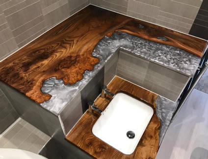 Resin and Wood Epoxy Bathroom by AW Epoxy