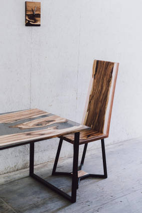 Resin and Wood Chair and Table