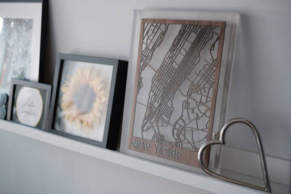Resin and Wood Map of New York