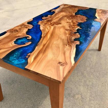 Blue rectangular table