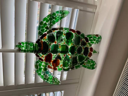 Sea Glass and Resin Turtle