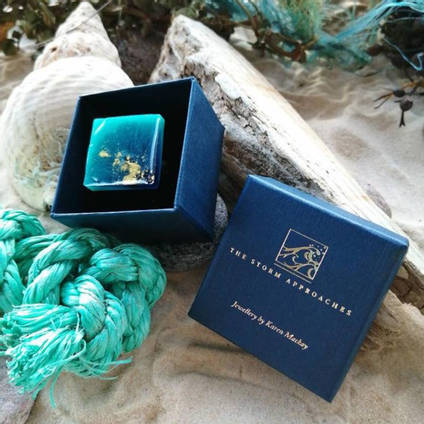 Sea Green Square Ring by Karen Mackay Designs