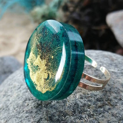 Sea Green and Gold Ring by Karen Mackay Designs