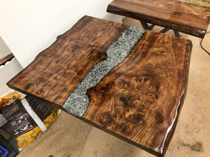 Silver Swarf and Resin Table