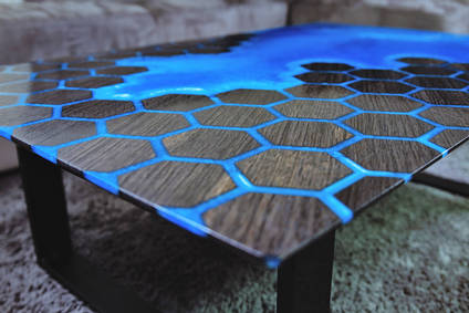 Bog Oak and Epoxy Resin Honeycomb Table
