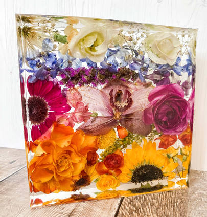 Square-rainbow-floral-resin-casting-by-eb-flower-preservation