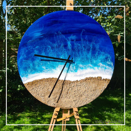 The Waves Resin Art Clock by Kelly Vincent Art