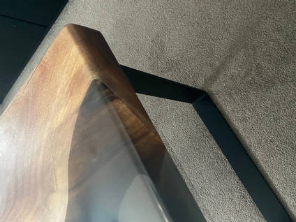 The Epoxy Studio Resin River Table Clear Section Close Up