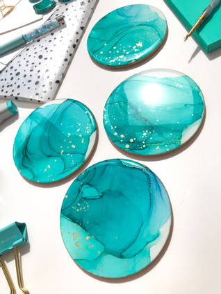 Turquoise Alcohol Ink and Resin Coasters
