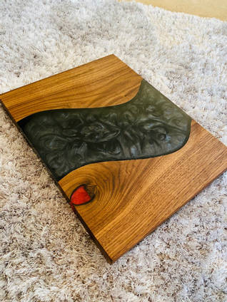 Walnut and Black and Red Resin Serving Board