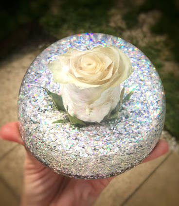 White Rose and Glitter Dome