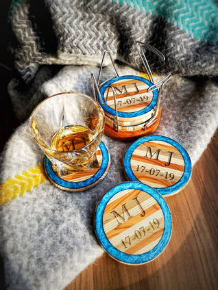 Wood and Resin Drinks Coasters