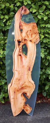 Wood and Resin Surfboard