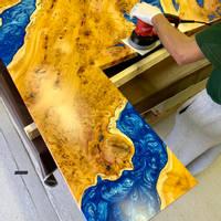 English Yew Resin Rivers Bar Top Thumbnail