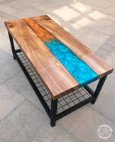 Dual Colour Teal and Gold Coffee Table Thumbnail
