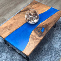 Walnut and Electric Blue Resin River Coffee Table Thumbnail
