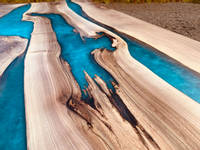 Blue Resin Walnut Rivers Dining Table Thumbnail