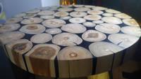 Log and Resin Circular Side Table Thumbnail