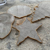 White-Resin-Shell-Coaster-Set-by-Luna-Art-Resin Thumbnail
