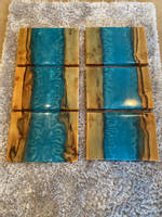 Wood and Blue Resin Serving Boards Thumbnail