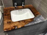 Elm and Epoxy Bathroom Project Thumbnail