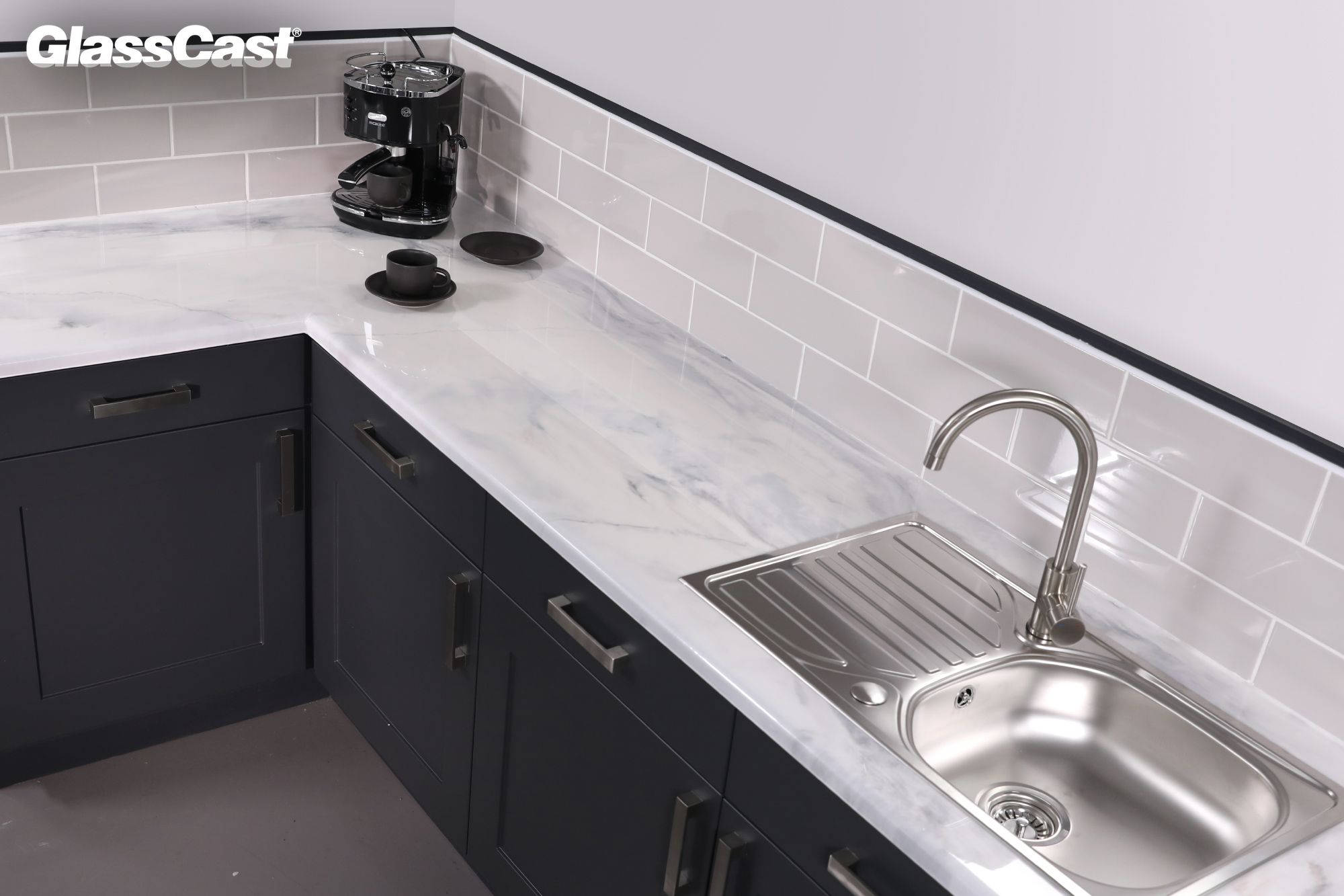 Carrara White Marble Epoxy Resin Countertop Kit Glasscast